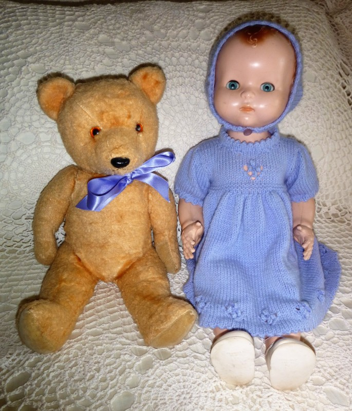 old doll and teddy